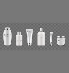 cosmetic bottles realistic silver white packaging vector image