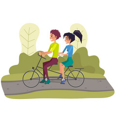 couple riding twin or tandem bicycle on road vector image