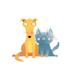 cute cat and dog flat vector image