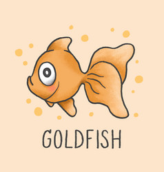 Cute goldfish cartoon hand drawn style vector