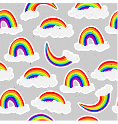 Cute rainbow seamless pattern sweet rainbow and vector