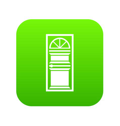 Door with an arched glass icon digital green vector