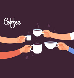 drinking coffee concept friends drink coffee for vector image