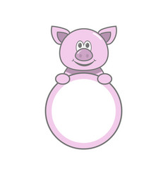 Empty pig frame for photo child vector
