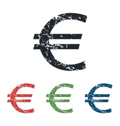 Euro grunge icon set vector image