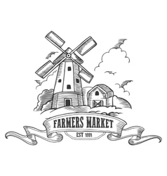 Farmers market badge Monochrome medieval farm vector image