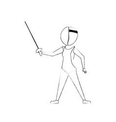 Fencer with rapier cartoon vector