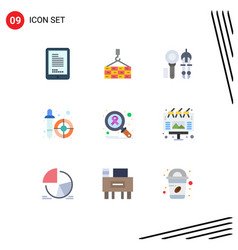 Flat color pack 9 universal symbols infect vector