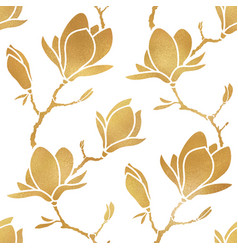 floral seamless pattern gold blooming magnolia vector image