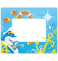 Frame with a shark captain vector image