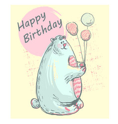 funny cute polar bear with happy birthday pink vector image