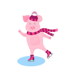 funny pig in a hat with a bushy pompon and a scarf vector image