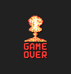 Game over with pixel art explosion vector
