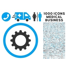Gear Icon with 1000 Medical Business Pictograms vector image vector image