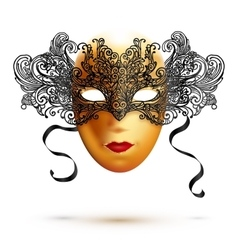 Golden full face carnival mask with ornate lacy vector image