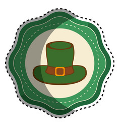 green sticker hat accessory st patrick vector image