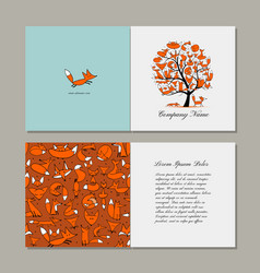 Greeting card with foxy tree design vector