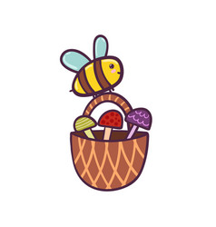 happy flying bee carries a basket with mushrooms vector image