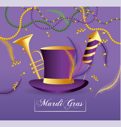 Hat with trompet and fireworks to merdi gras vector