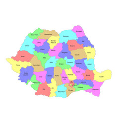High quality labeled map romania with borders vector