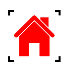 home silhouette red icon vector image