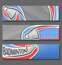 horizontal banners for badminton vector image