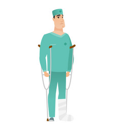 injured doctor with broken leg vector image