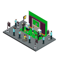 Isometric filming process concept vector