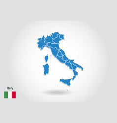 italy map design with 3d style blue italy map and vector image