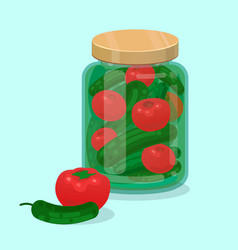 Jar with pickled cucumbers and tomatoes flat vector