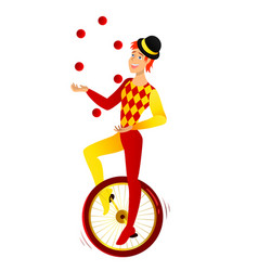 Juggler on a bicycle vector