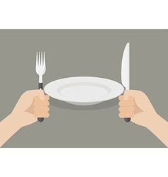 Knife and fork cutlery in hands with white plate vector