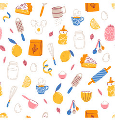 Lemon pie recipe ingredients seamless pattern vector