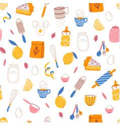lemon pie recipe ingredients seamless pattern vector image