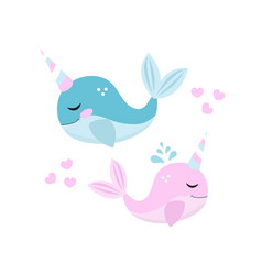 little whale unicorn set modern cartoon style vector image