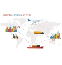 Logistics and delivery from one city to another vector