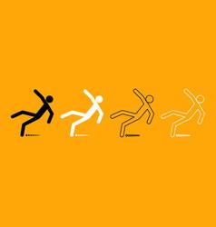man slip fall black and white set icon vector image