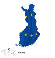 Map of Finland with European Union flag vector image