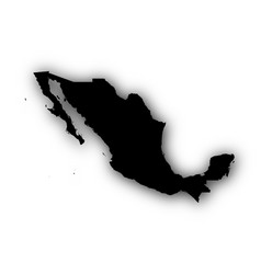 Map of mexico with shadow vector