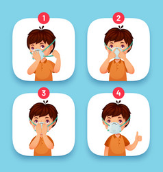 mask instruction wearing protection mask face vector image