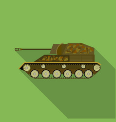 military tank icon in flat style isolated on white vector image