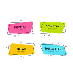 Modern banners with geometric shapes label title vector