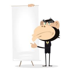 Monkey businessman holding a paper board vector