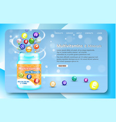 Multivitamins and minerals landing page website vector