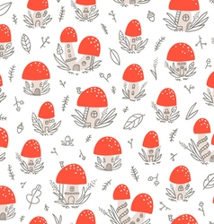 Mushroom houses pattern vector