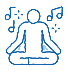 Musical man relaxation doodle icon hand drawn vector