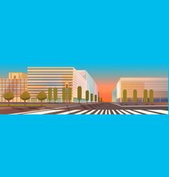 no people city street buildings road view vector image