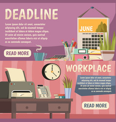 office orthogonal banner set vector image