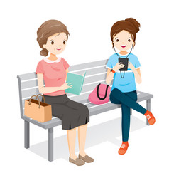 Old woman reading book young woman playing vector