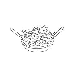 one single line drawing fresh organic salad vector image